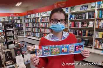 Jessie verkoopt stickers van het Rode Kruis