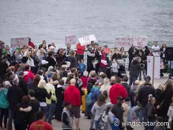 Anti-lockdown protest held Saturday at Dieppe Gardens - Windsor Star
