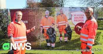 Werkmannen van Aalter kruipen in de huid van fotomodel voor zwerfvuilcampagne - VRT NWS