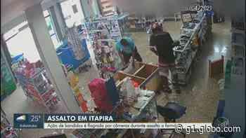 Câmeras de segurança registram assalto a farmácia em Itapira; vídeo - G1