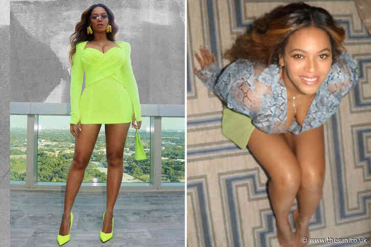 Beyonce proves she still has sex ap-peel as she proudly shows off her figure in a super-tight apple green minidress