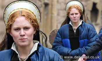 Becoming Elizabeth star Alicia Von Rittberg wears Tudor headdress as she films as Queen Elizabeth I