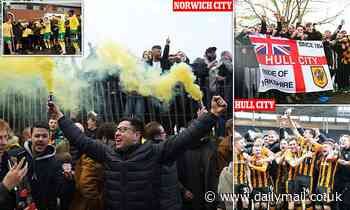 Thousands of fans in Norwich, Hull and Peterborough flock to the streets to celebrate promotions