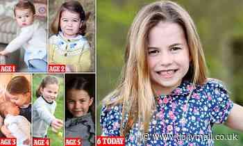 Hasn't one grown! 'Feisty' Princess Charlotte wears a pretty floral print dress as she turns six