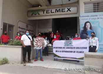 En Cosamaloapan, protestan trabajadores telefonistas en el Día del Trabajo - Imagen del Golfo