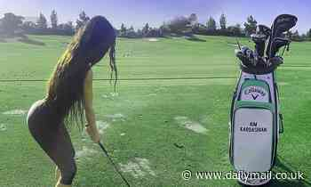 Kim Kardashian flaunts her athleticism and round derriere as she shares snaps from a day of golf