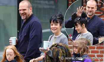 Lily Allen giggles as she heads out with husband David Harbour and daughters Ethel and Marnie