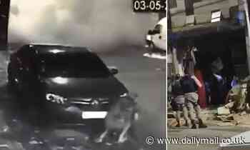 Moment Brazilian gang blows up entire grocery store while trying to steal its two ATMs