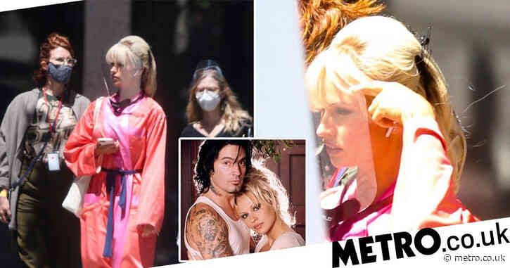 First look at Lily James' transformation into Pamela Anderson on set of new sex tape drama Pam & Tommy