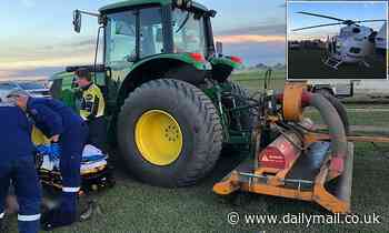 Mystery surrounds how a man managed to LOSE his leg after a run-in with a huge lawnmower