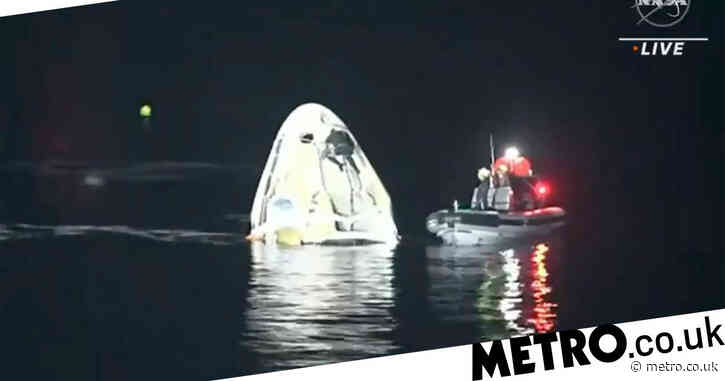 SpaceX returns four astronauts to Earth in rare nighttime splashdown