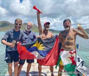 Herefordshire man celebrates reaching dry land after rowing across the Atlantic