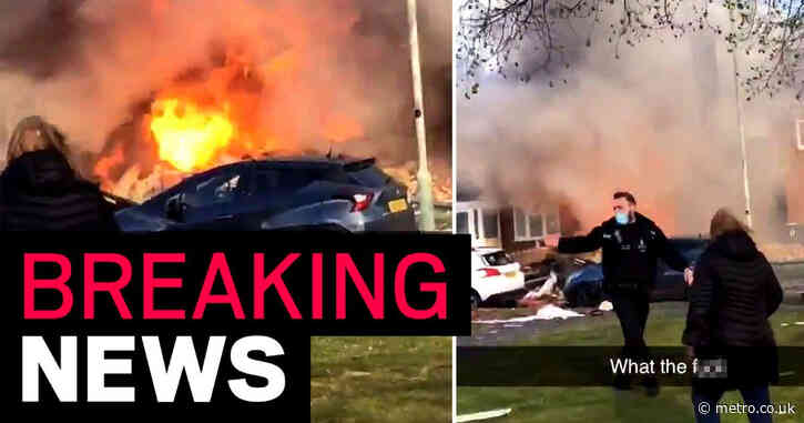 Huge 'gas explosion' destroys house trapping people inside