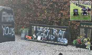 Memorial for stillborn babies covered in sickening graffiti saying 'one less rat' and 'Covid hoax'