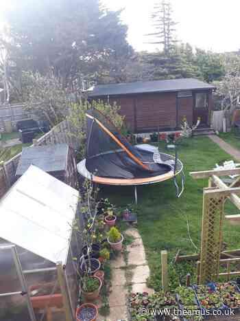 Neighbour's shock as winds blow trampoline into garden