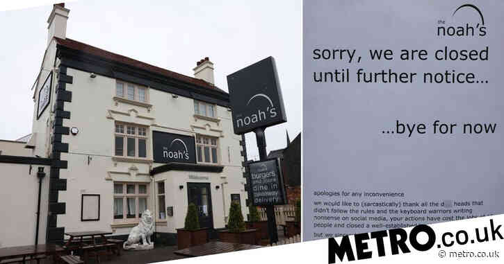 Pub blames 'rule-breaking d**kheads' as it closes until further notice