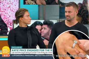 Katie Price flashes new ring with fiancé Carl Woods on GMB