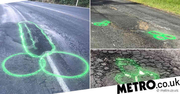Man paints penises around potholes to highlight 'shocking' state of city's roads