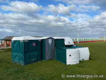 Seafront toilets in Hove blown over as strong winds batter coast