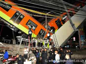 Video of moment Mexican subway train collapsed through bridge leaving 23 dead, including children