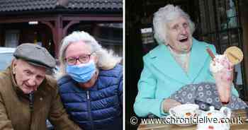 Audrey, 85, enjoys an ice cream on first trip out of her care home in 14 months