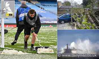 Snow and ice blankets the pitch for the Champions League semi final as temperatures plunge to 1C