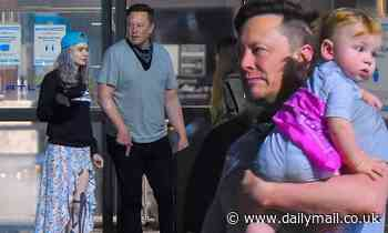 Elon Musk arrives in New York with partner Grimes and baby X Æ A-XII ahead of his SNL hosting gig