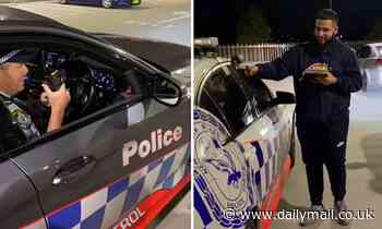 NSW Police laugh with a group of young people pretending to mock up car violations with a vaping pen