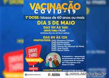 COVID-19: 1ª dose para idosos de 60 anos ou mais tem início nessa quarta-feira, 5 - Prefeitura de Assis