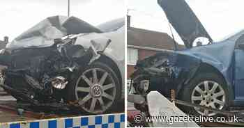Passengers made off after two car smash which left one man in hospital