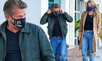 Sean Penn and wife Leila George match in jeans as they step out for dinner in Malibu - Daily Mail