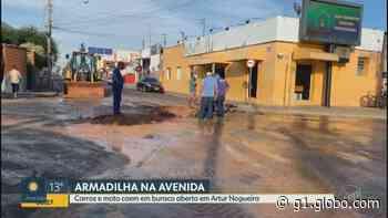 Buraco aberto em avenida de Artur Nogueira provoca queda de veículos e deixa motociclista ferido - G1