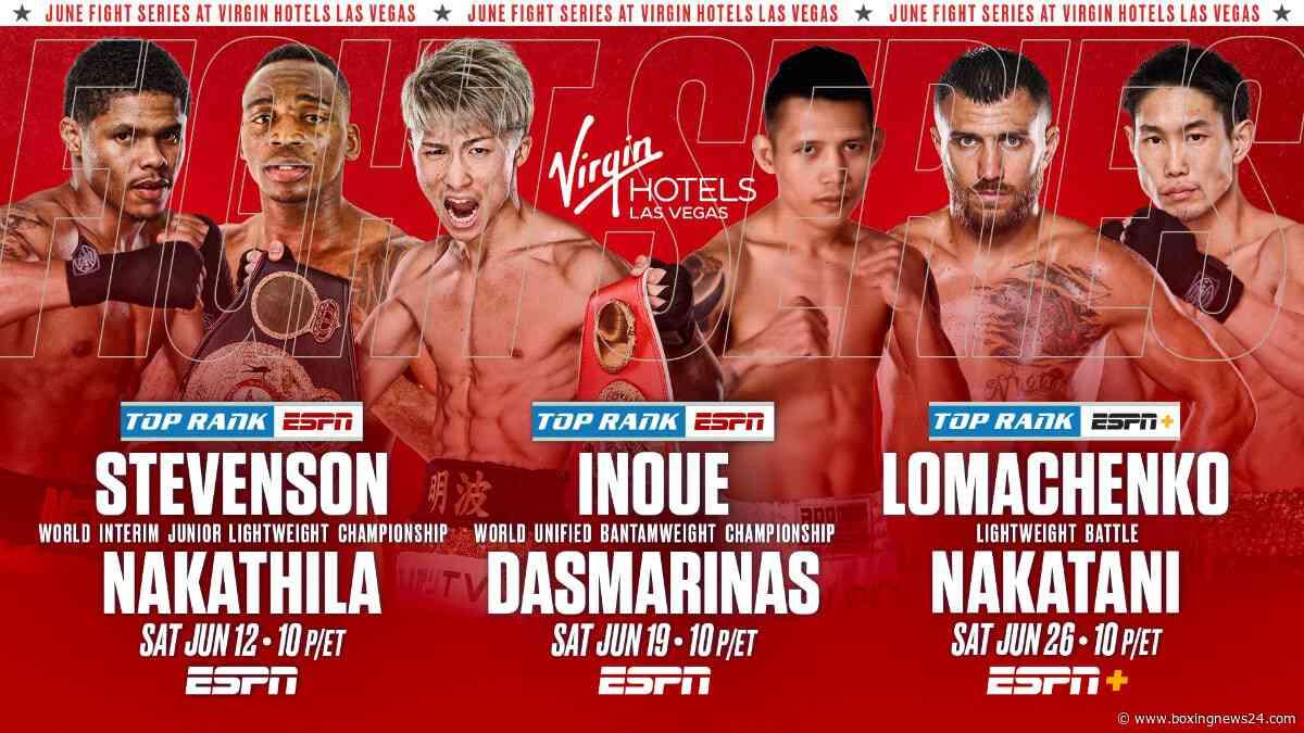 Top Rank fights: Ramirez – Taylor, Stevenson – Nakathila, Inoue – Dasmarinas & Lomachenko – Nakatani