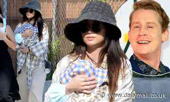 Macaulay Culkin's girlfriend Brenda Song is seen in public with their son Dakota for the first since