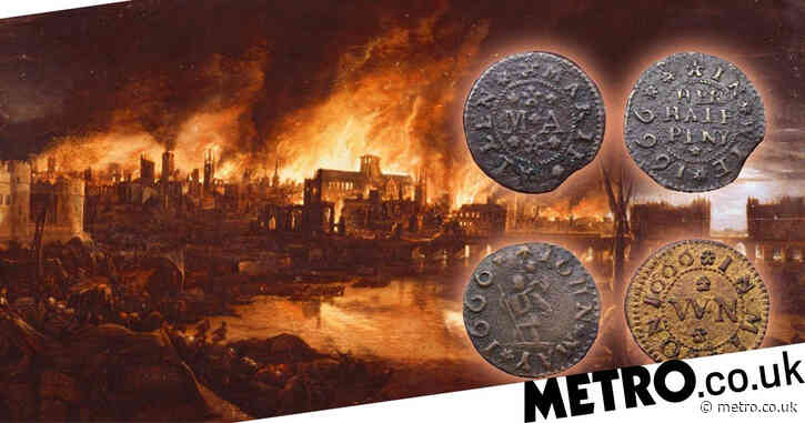 Coins dropped by traders fleeing Great Fire of London found in Thames