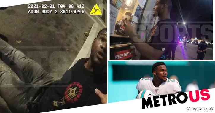 Moment pro American football player pees in his pants during Pizza Hut arrest