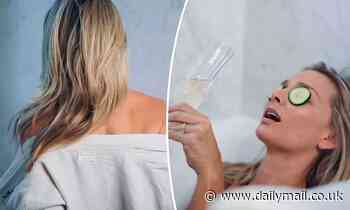 New mother Anna Heinrich strips naked for a bath for Mother's Day commercial