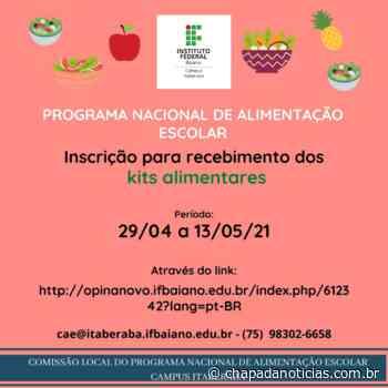 Abertas as Inscrições para Recebimento de Kits Alimentares do Campus Itaberaba - chapada notícias