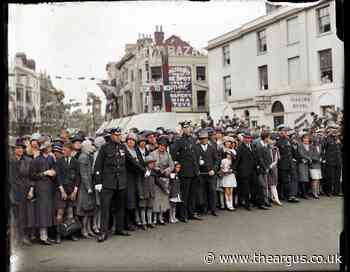 Crowds pack South Street, Worthing, for a glimpse of royalty