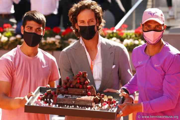 Rafael Nadal, Feliciano Lopez present birthday cake to Carlos Alcaraz at Caja Magica