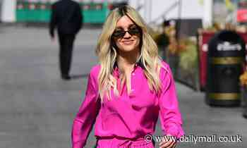 Ashley Roberts looks sensational in a hot pink silk pyjama-inspired outfit as she leaves Heart FM