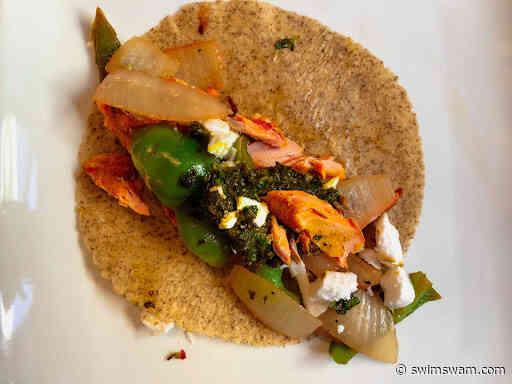 The Hungry Swimmer: Greek Feta Salmon Wraps