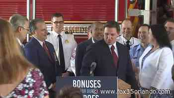 Gov. DeSantis speaks in Temple Terrace about first responder bonuses - FOX 35 Orlando