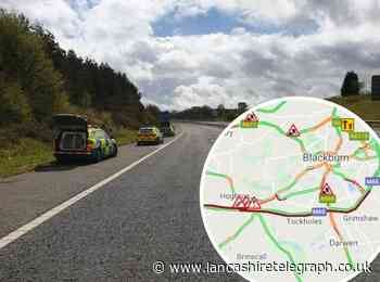 Stolen Jaguar being chased by police crashes on M65, while 2 further incidents cause queues for 7 miles