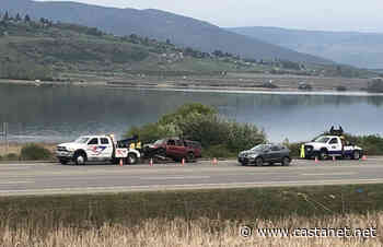 Pickup goes off Highway 97 beside Swan Lake, lands on railway tracks - Vernon News - Castanet.net