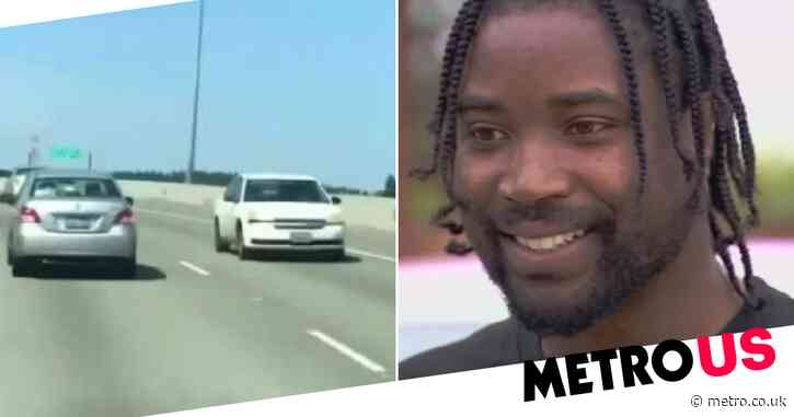 Driver steers in reverse on highway for minutes in 'Matrix'-like scene trying to save himself