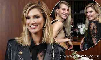 Delta Goodrem nails edgy-chic in a leather jacket as she dines with Christian Wilkins