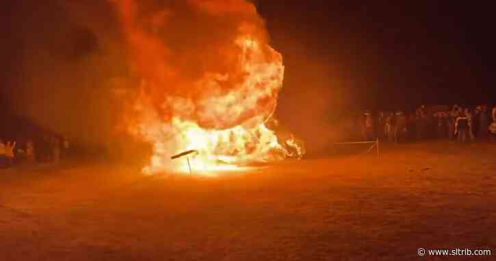 Utah protest against 'medical tyranny' includes burning a giant effigy of a vaccine syringe