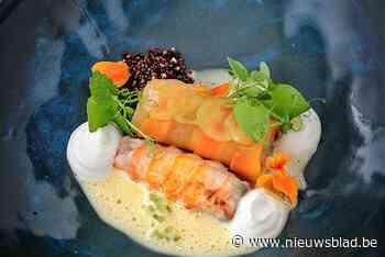 Langoustines op 2 wijzen, oestercrème, geïmpregneerde druif, gepofte quinoa