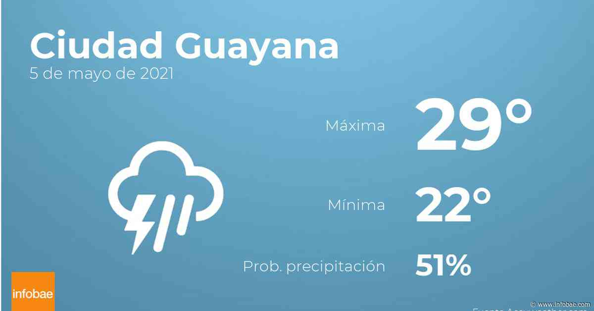 Previsión meteorológica: El tiempo hoy en Ciudad Guayana, 5 de mayo - infobae
